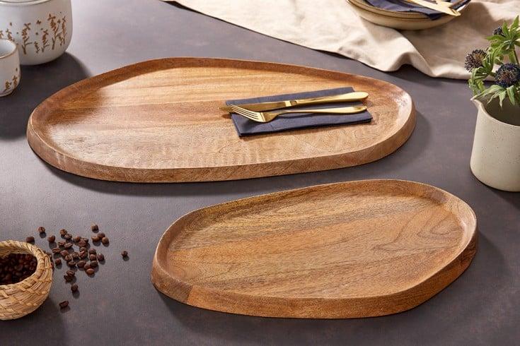 Massives Tablett 2er Set ELEMENTS 56cm Mangoholz handgearbeitet