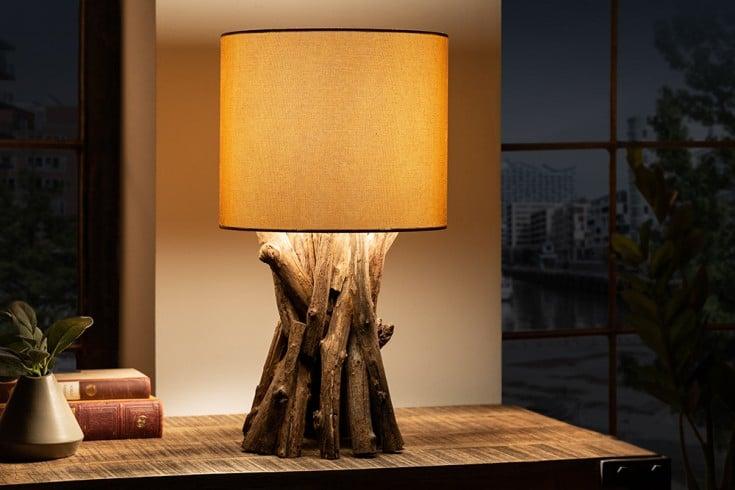 Massivholz Tischlampe HARMONY NATURE 50cm beige Teak mit Leinenschirm