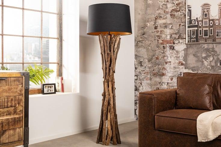 Massivholz Stehlampe HARMONY NATURE 151cm schwarz Teak mit Baumwollschirm
