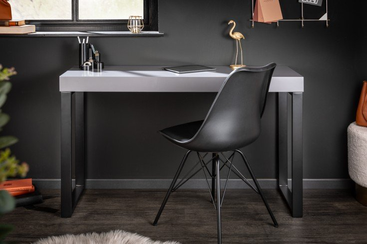 Design Konsole GREY DESK 120cm grau schwarzes Gestell Bürotisch
