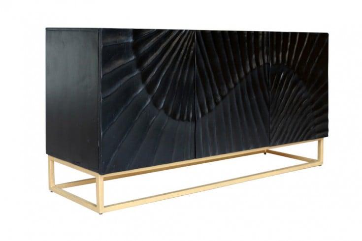 Massives Sideboard SCORPION 140cm schwarz Mangoholz aufwendige 3D Schnitzereien