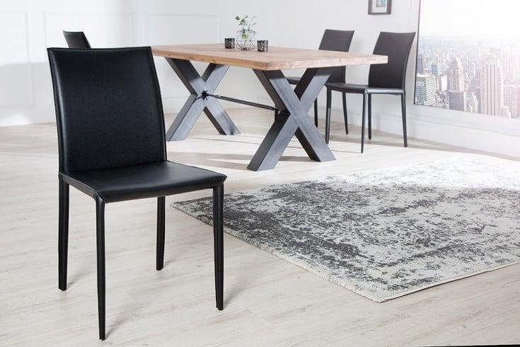 Exklusiver design stuhl milano echt leder schwarz ziernaht for Design stuhl schwarz