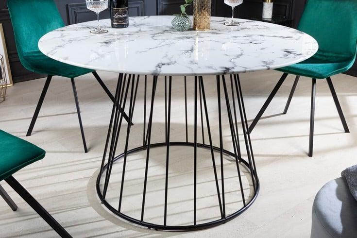 Design Esstisch PARIS 120cm weiß Glastisch Marmor-Optik mit Metallfuß
