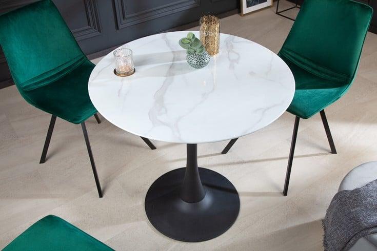 Design Esstisch LYON 80cm weiß rund Glastisch Marmor-Optik schwarzer Fuß