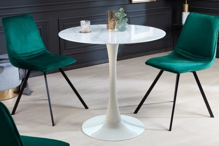 Design Esstisch LYON 80cm weiß rund Glastisch Marmor-Optik weißer Fuß