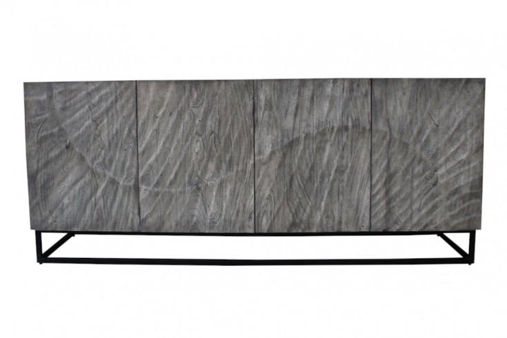 Massives Sideboard SCORPION 177cm grau Akazie aufwendige 3D Schnitzereien