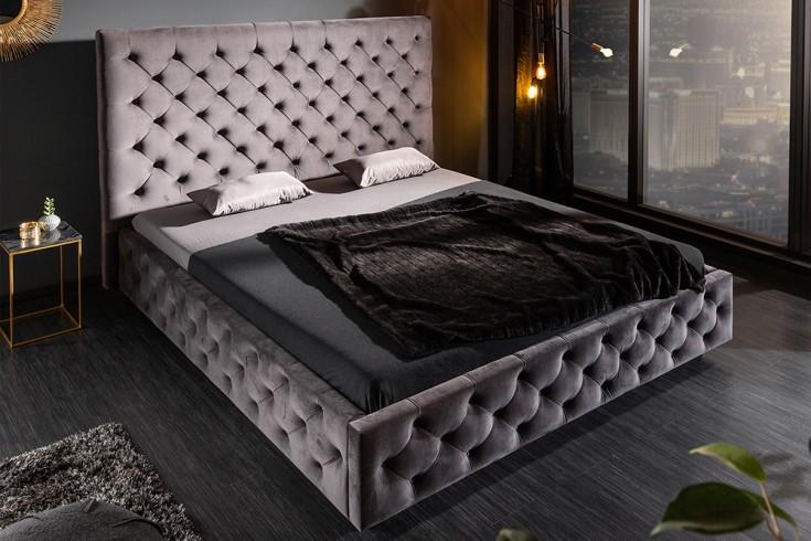 Elegantes Doppelbett PARIS 160x200cm dunkelgrau Samt Chesterfield Design
