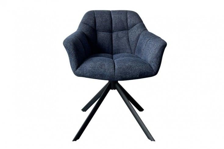 Drehbarer Stuhl PAPILLON dunkelblau Ziersteppung schwarzes Gestell