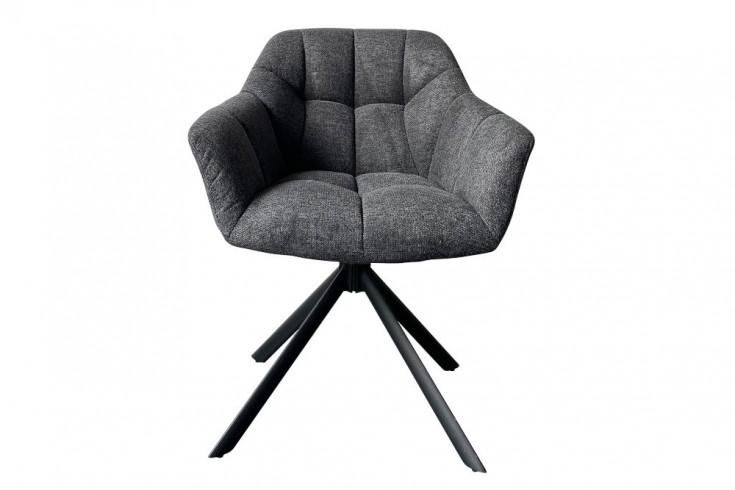 Drehbarer Stuhl PAPILLON anthrazit Ziersteppung schwarzes Gestell