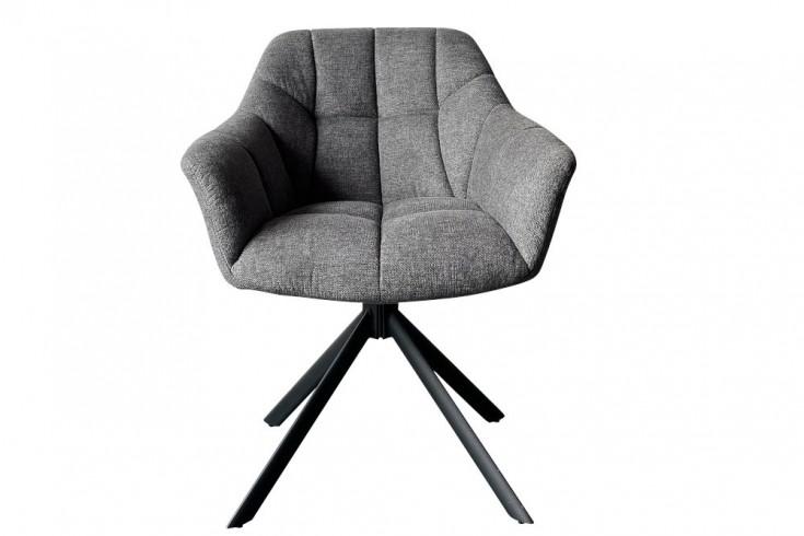 Drehbarer Stuhl PAPILLON dunkelgrau Ziersteppung schwarzes Gestell