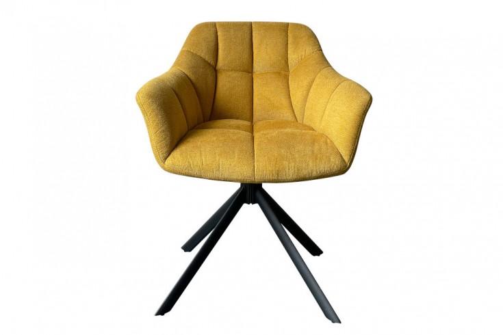 Drehbarer Stuhl PAPILLON senfgelb Ziersteppung schwarzes Gestell