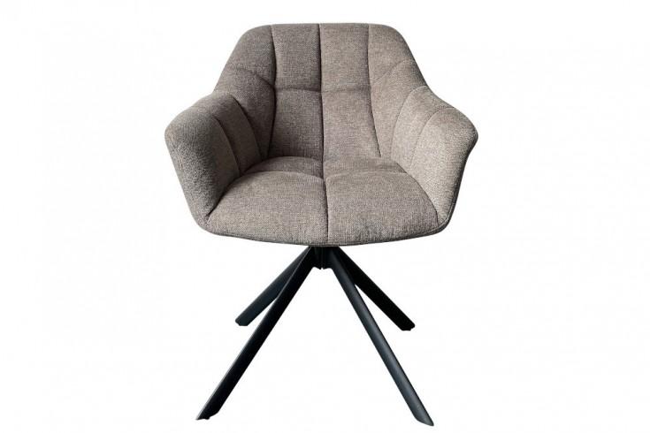 Drehbarer Stuhl PAPILLON hellbraun Ziersteppung schwarzes Gestell