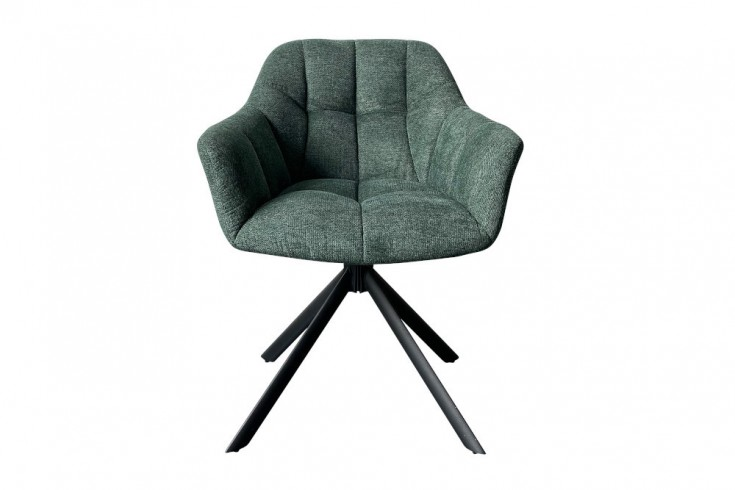 Drehbarer Stuhl PAPILLON dunkelgrün Ziersteppung schwarzes Gestell