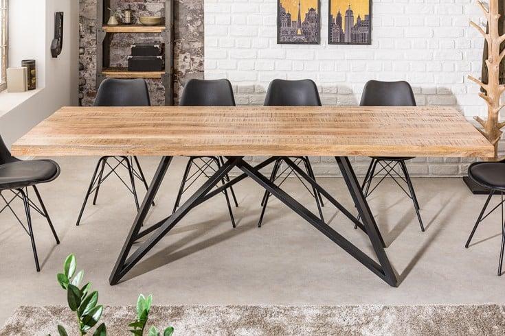 Massiver Esstisch IRON CRAFT 240cm Mangoholz Industrial Design schwarzes Gestell