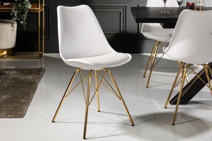 Design Stuhl SCANDINAVIA MEISTERSTÜCK weiß goldene Beine
