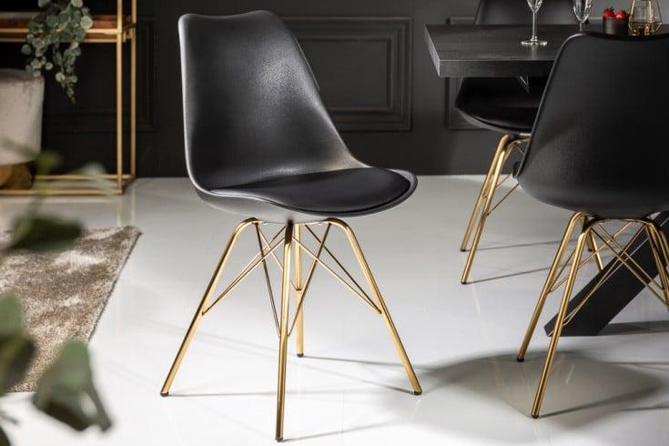 Design Stuhl SCANDINAVIA MEISTERSTÜCK schwarz goldene Beine