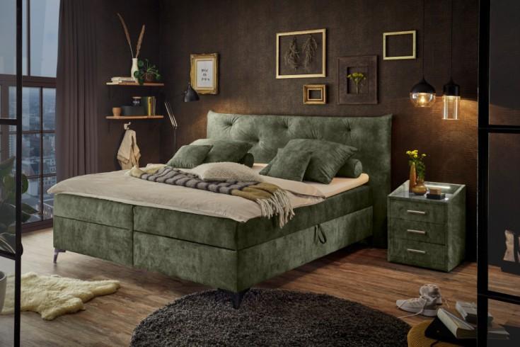 Elegantes Boxbett CLERMONT 160x200cm grün inkl. Matratze und Topper mit Bettkasten
