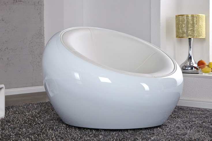 Design Sessel LOUNGE BALL weiss total