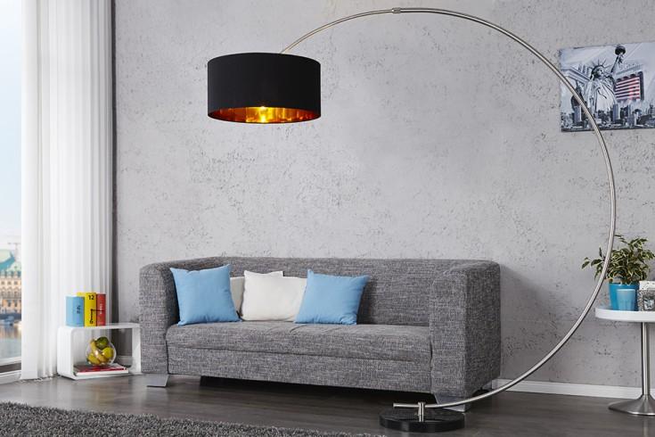 Design Bogenlampe PYTHON in schwarz gold Bogenleuchte mit Dimmer