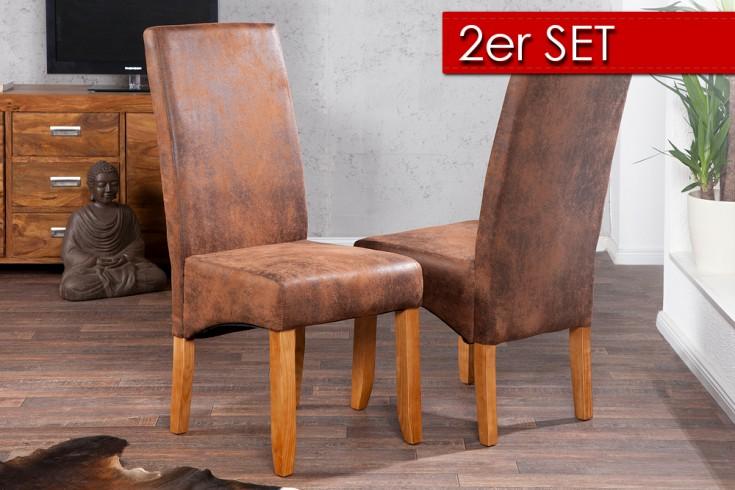 2er Set Edler Kolonial Stuhl VALENTINO whisky - braun Vintage Look Massivholzbeine Sheesham