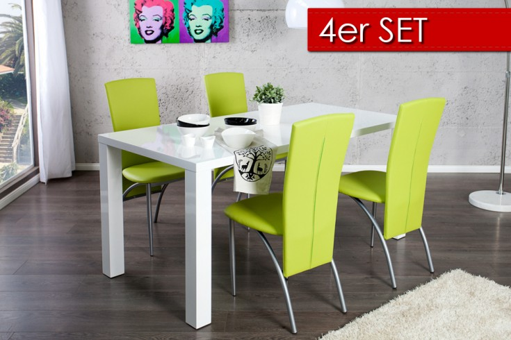 4er set exklusiver design stuhl nico mit hoher r ckenlehne limette riess ambiente onlineshop. Black Bedroom Furniture Sets. Home Design Ideas