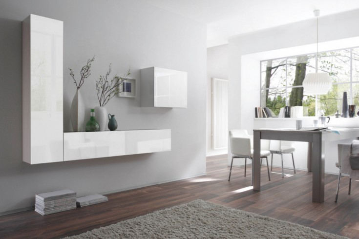 Moderne CUBE Wohnwand MILANO No.5 made in Italy weiß Highgloss