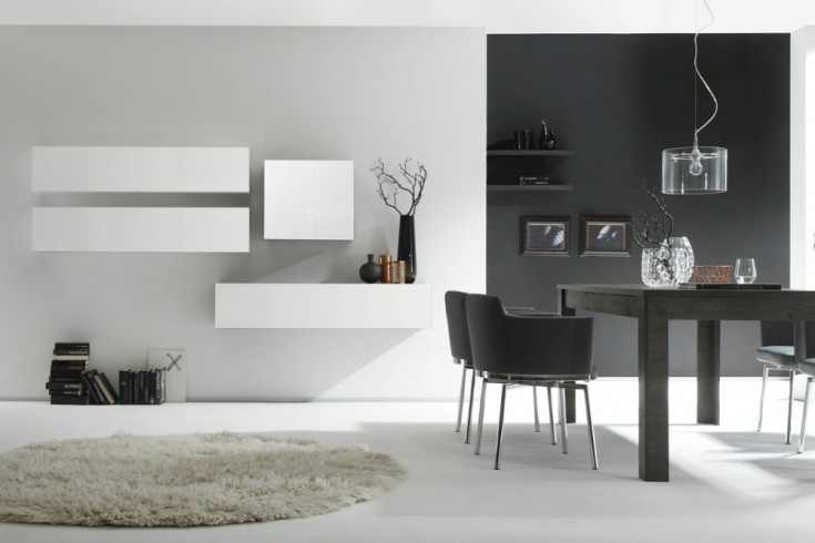Moderne CUBE Wohnwand MILANO No.7 made in Italy weiß Hochglanz