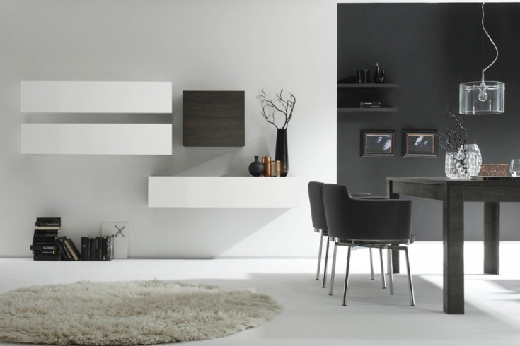 Moderne CUBE Wohnwand MILANO No.8 made in Italy weiß Highgloss und Wenge-Optik