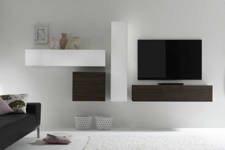 Moderne CUBE Wohnwand MILANO No.9 made in Italy weiß Hochglanz und Wenge-Optik