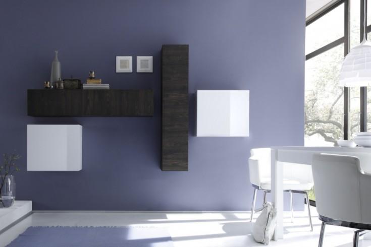 Moderne CUBE Wohnwand MILANO No.10 made in Italy weiß Hochglanz und Wenge-Optik