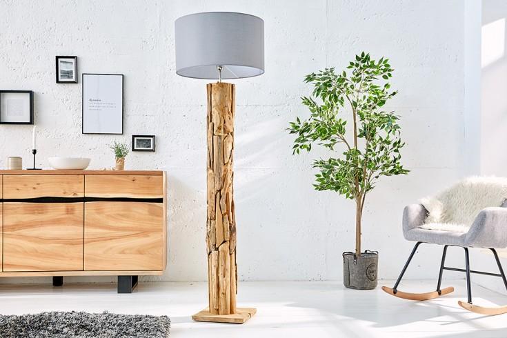 Höhenverstellbare Teakholz Stehlampe ROOTS 175cm grau Treibholz Lampe