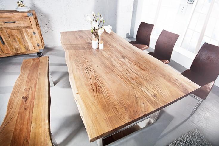 Massiver Baumstamm Tisch MAMMUT 160cm Akazie Edelstahl Kufengestell 3,5cm Tischplatte