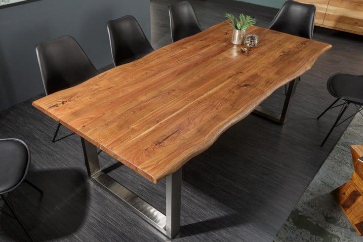 Massiver Baumstamm Esstisch MAMMUT NATURE 160cm Akazie 3,5cm Tischplatte Edelstahlbeine