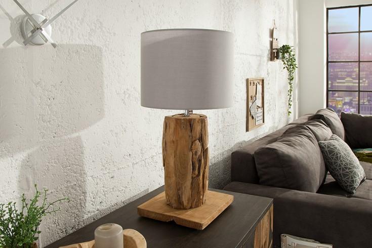 Höhenverstellbare Tischlampe ROOTS 70cm grau Treibholz mit Leinenschirm