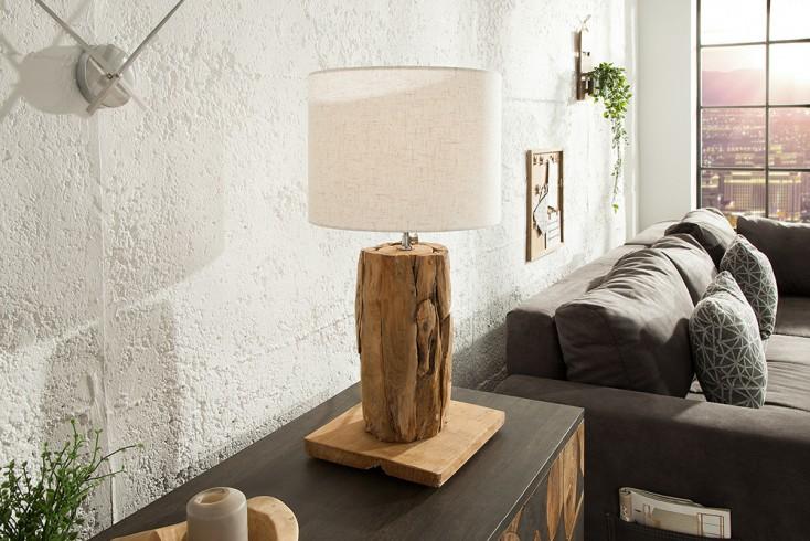 Höhenverstellbare Tischlampe ROOTS 70cm beige Treibholz mit Leinenschirm