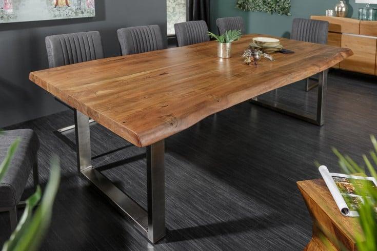 Massiver Baumstamm Esstisch MAMMUT NATURE 200cm Akazie 6cm Tischplatte Edelstahlbeine