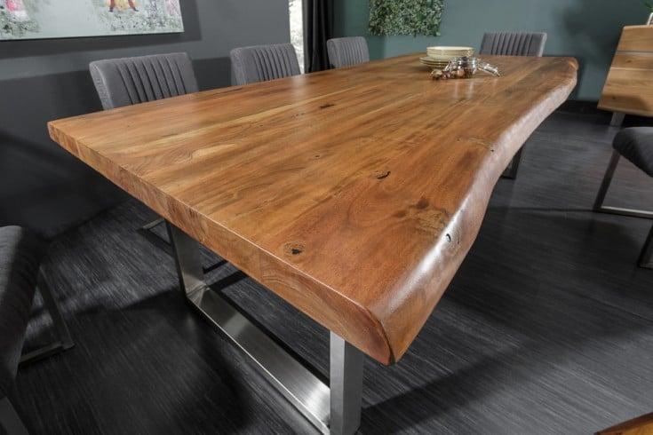 Massiver Baumstamm Esstisch MAMMUT NATURE 240cm Akazie 6cm Tischplatte Edelstahlbeine