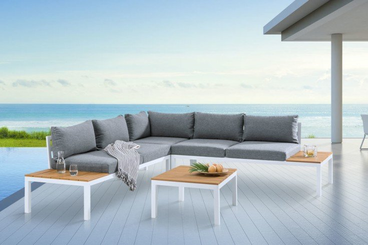Große Garten Sitzgruppe MIAMI LOUNGE 240cm weiß grau Gartenmöbel inkl. Tisch und Kissen