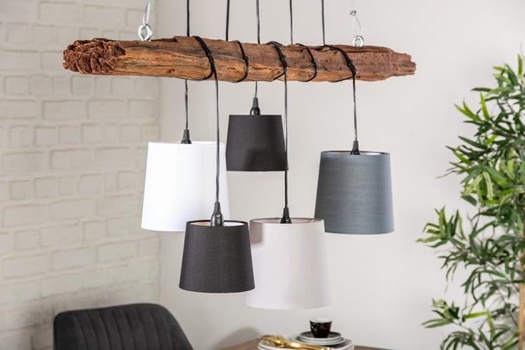 Design Hängelampe LEVELS 115cm Treibholz schwarz grau mit 5 Leuchten