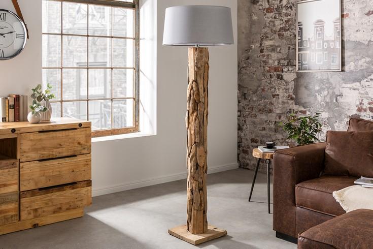 Höhenverstellbare Stehlampe ROOTS 170cm grau mit Teakholz-Fuß