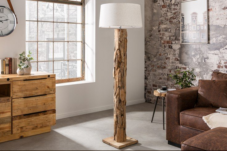 Höhenverstellbare Stehlampe ROOTS 170cm natur mit Teakholz-Fuß