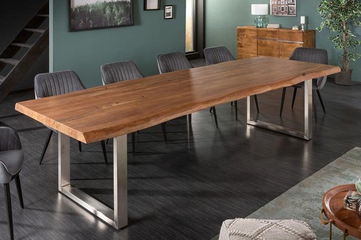 Massiver Baumstamm Esstisch MAMMUT NATURE 300cm Akazie 6cm Tischplatte Edelstahlbeine