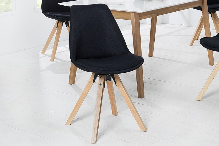 Retro Stuhl 2er Set SCANDINAVIA MEISTERSTÜCK schwarz Strukturstoff Massivholzbeine