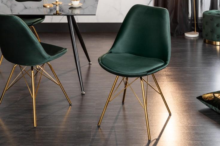 Design Stuhl 2er Set SCANDINAVIA MEISTERSTÜCK Samt dunkelgrün goldene Beine