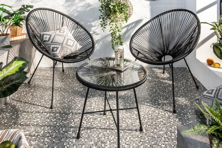 Elegante Sitzgruppe ACAPULCO schwarz Sessel mit Tisch wetterfest