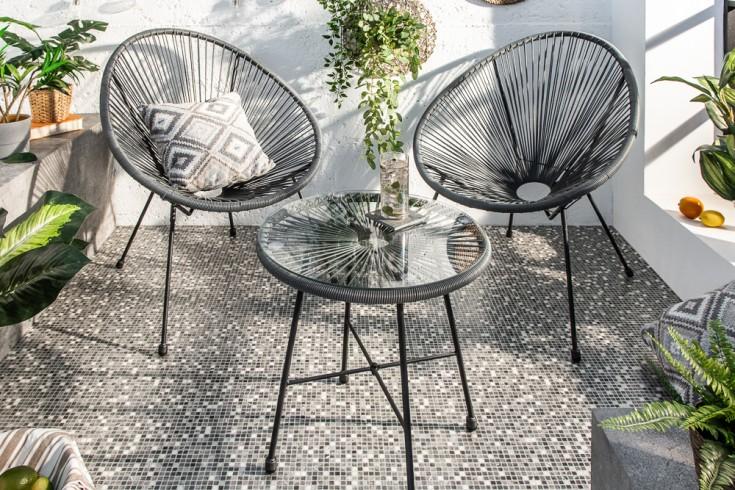 Elegante Gartensitzgruppe ACAPULCO anthrazit Gartensessel mit Tisch