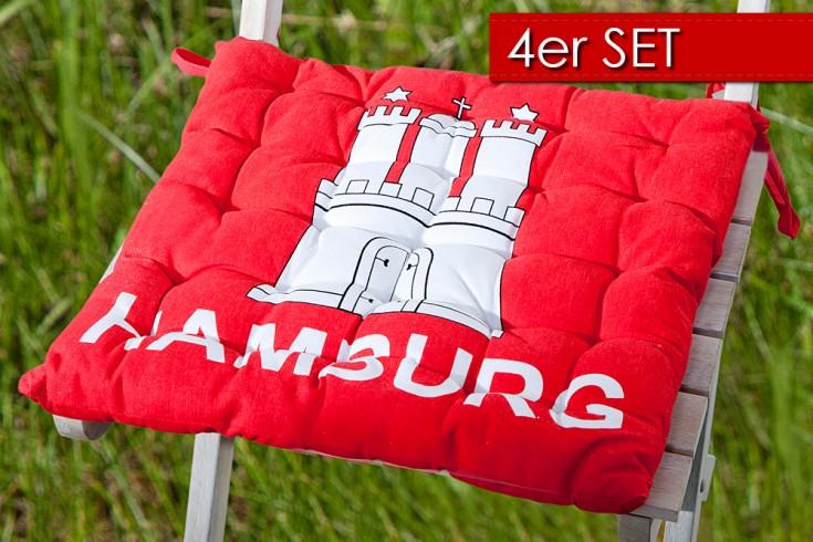 4er Set Design Sitzkissen SUMMER Hamburg Wappen 40x40cm