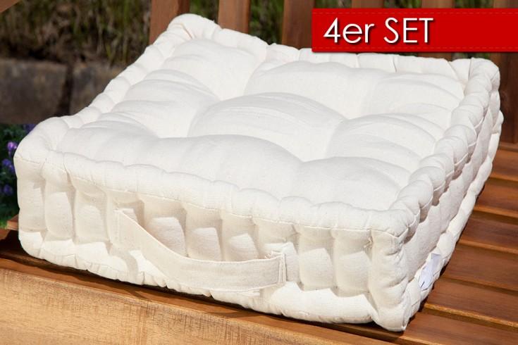 4er Set Design Sitzkissen SUN Beige 40x40cm Auflage