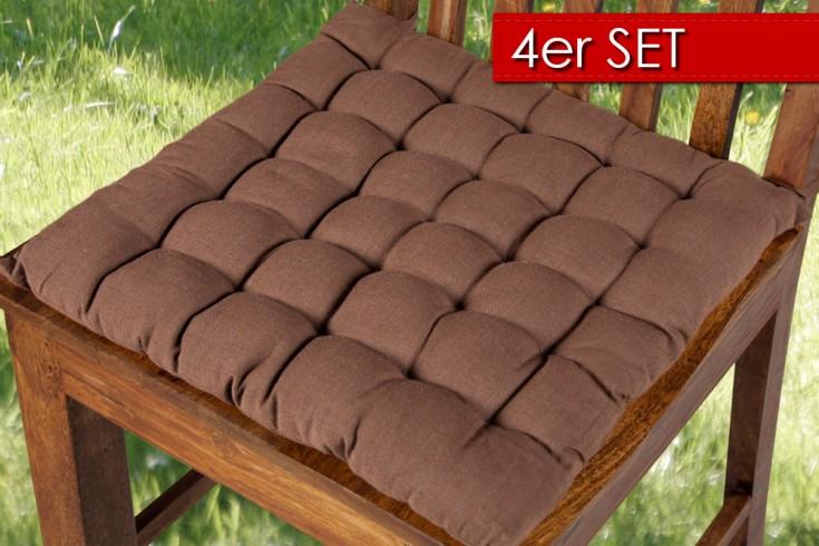 4er Set Design Sitzkissen SUMMER braun 40x40cm