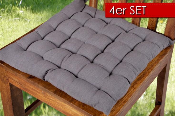 4er Set Design Sitzkissen SUMMER grau 40x40cm